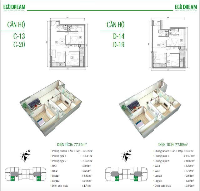 Thiết kế căn hộ 77,75m2 và 77,69m2 chung cư Eco Dream