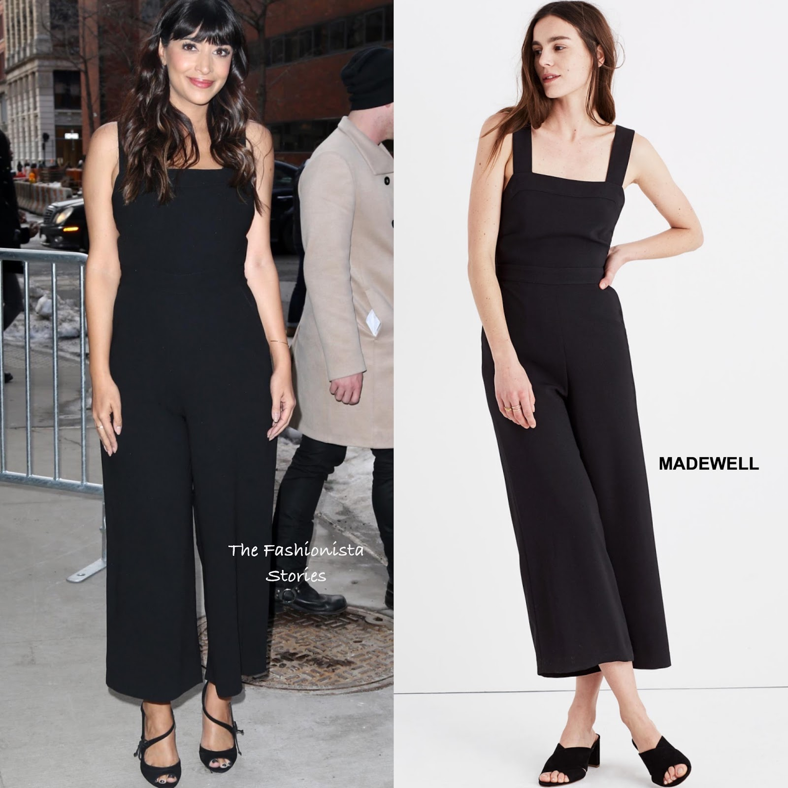 Hannah Simone In Madewell Visiting The Build Series