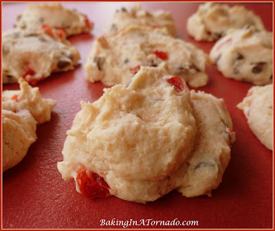 Chewy Cherry Cream Cheese Cookies | www.BakingInATornado.com | #recipe #cookies