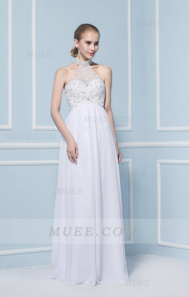 Sparkling High Waist A-Line/Princess Beaded Long White Chiffon Wedding Dress
