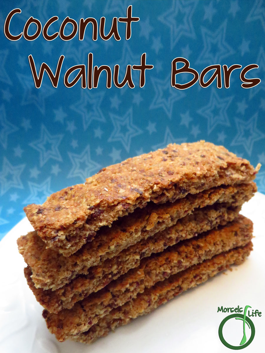 Morsels of Life - Coconut Walnut Bars - Make your own super simple coconut walnut bars with dried dates for a bit of sweetness.