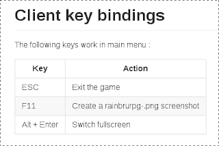 The new RainbruRPG key bindings