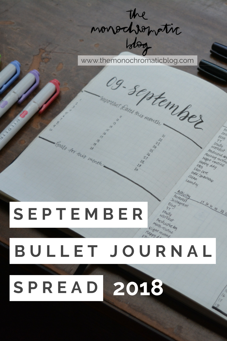 September 2018 Bullet Journal Spread
