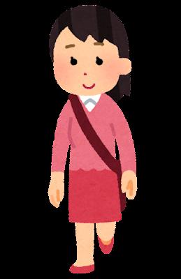 乗り降りのポーズの人のイラスト(女性・前向き)