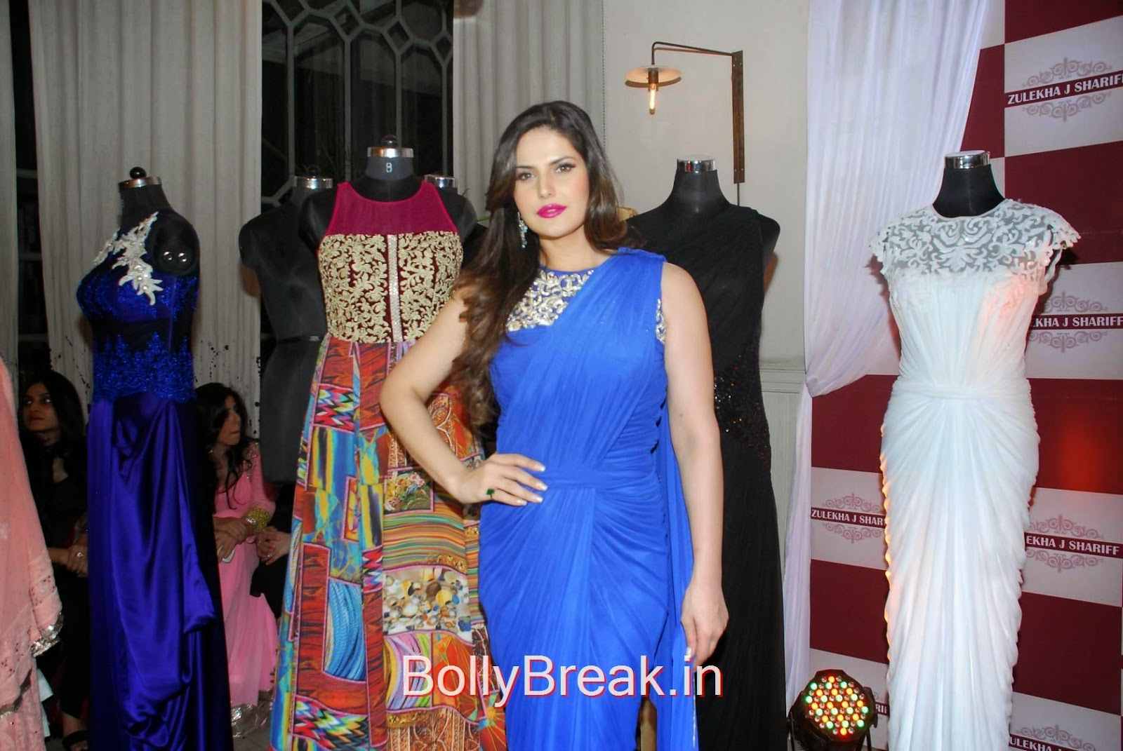 Zarine Khan Pictures, Hot HD Images Of Zarine Khan in Blue saree from Zulekhans Collection Launch