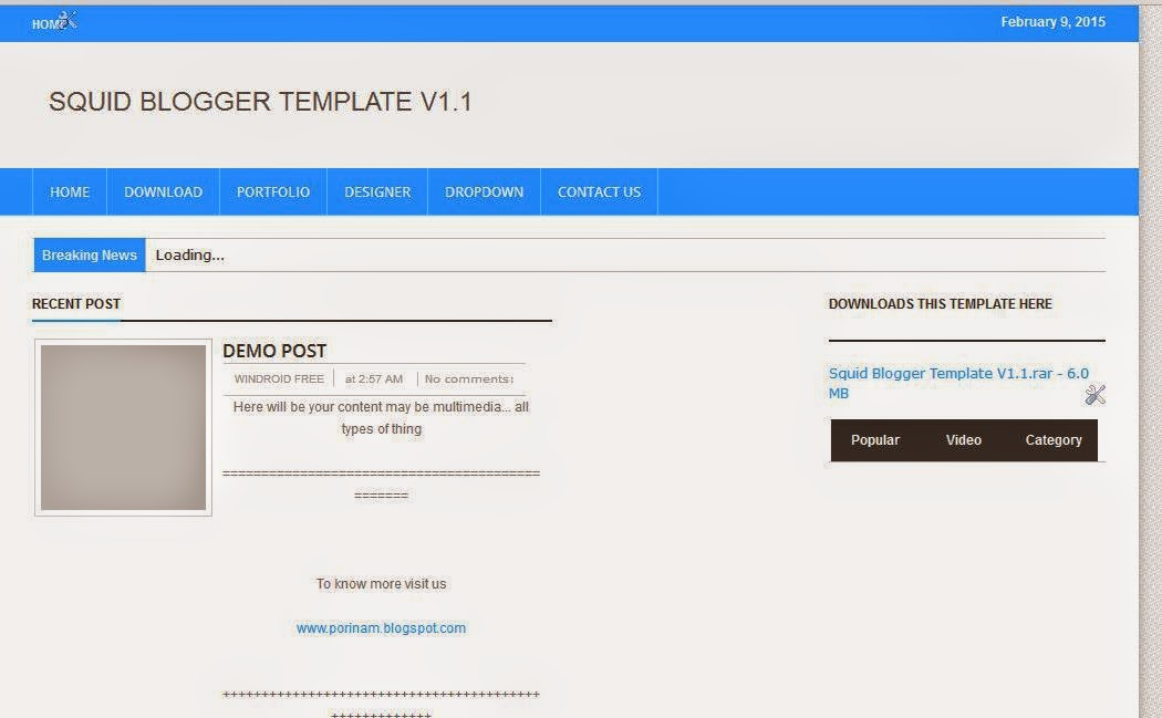 Squid Blogger Template Downloads free