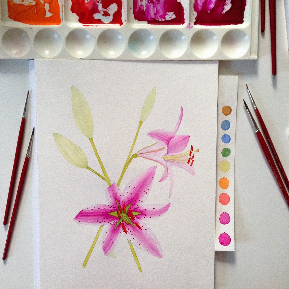 watercolor lily painting