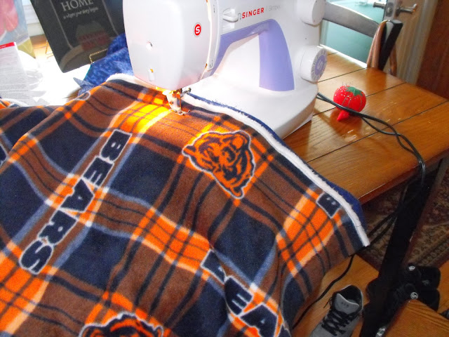sewing a Chicago Bears blanket