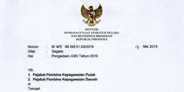 surat edaran (se) menpan rb tentang penerimaan cpns 2019
