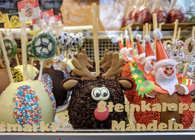 Chocolate covered apples that look like reindeer in Dortmund's Christmas Market
