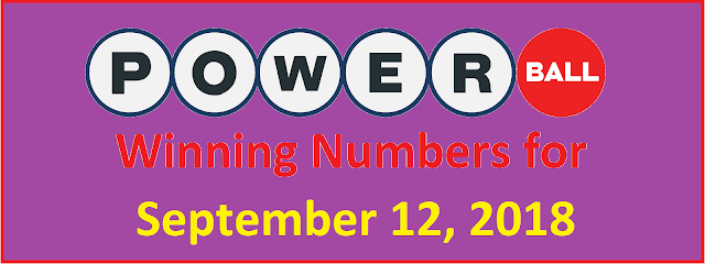 PowerBall Winning Numbers for Wednesday, 12 September 2018