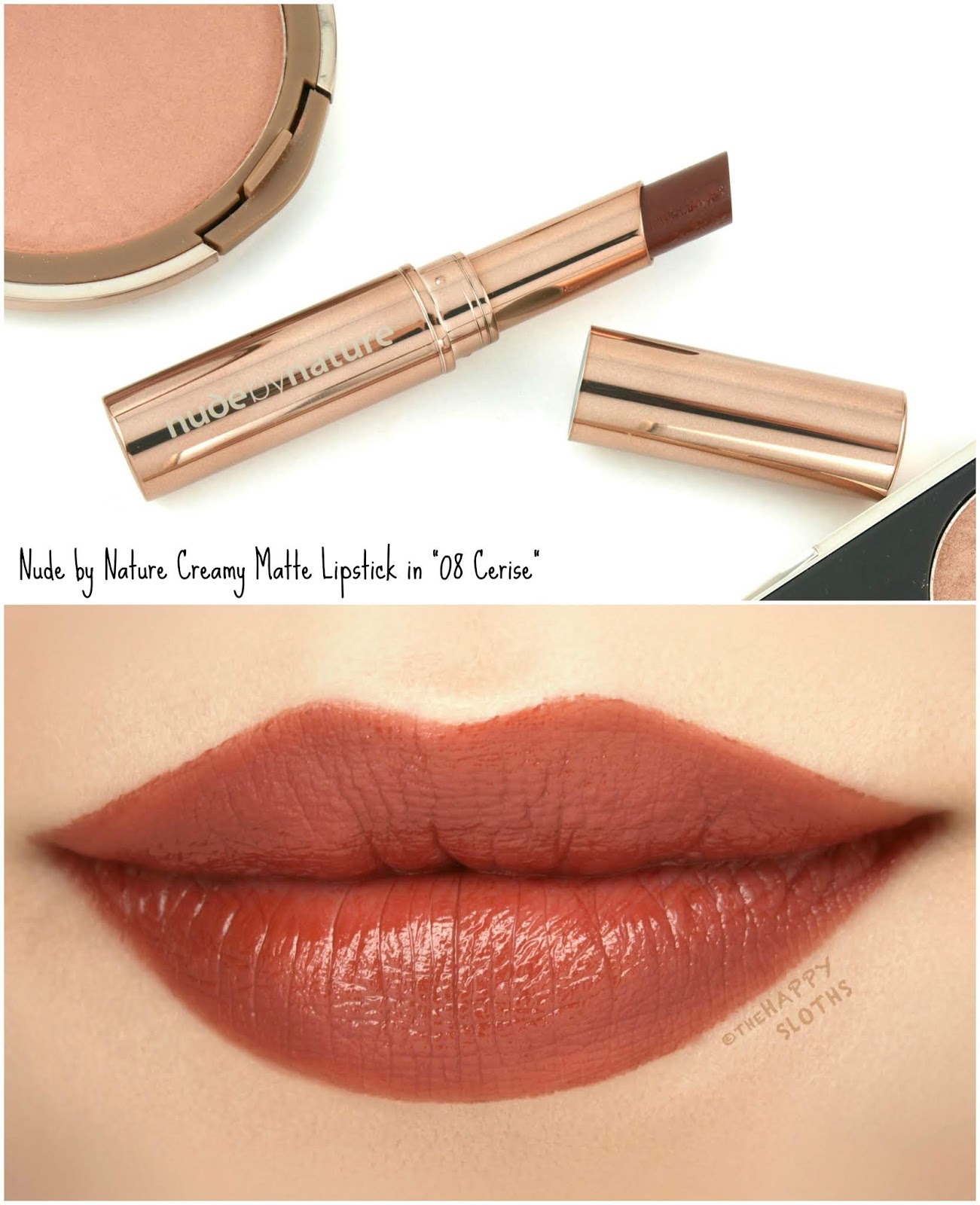 "Nude by Nature | Creamy Matte Lipstick in ""08 Cerise"": Review and Swatches"
