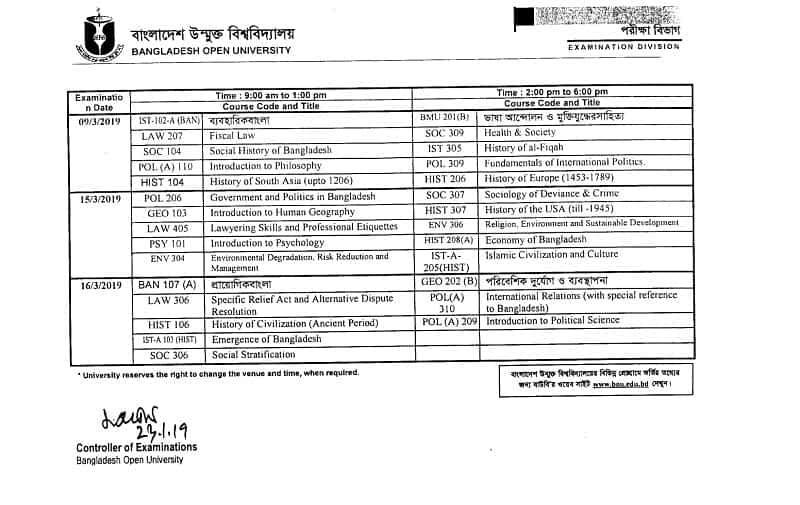 Bangladesh Open University BOU BA/BSS Exam Routine 2019