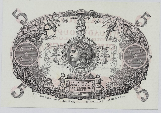 Guadeloupe 5 Francs banknote paper money collection