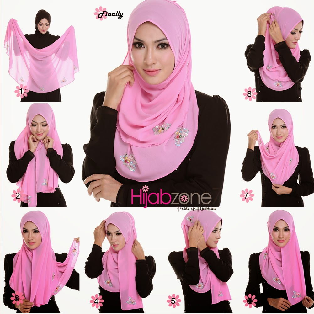 20+ Tutorial Hijab Segi Empat Pesta Simple dan Modern
