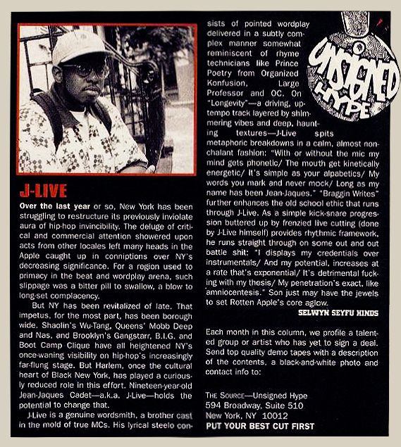 J-Live Unsigned Hype November 1995 The Source Magazine