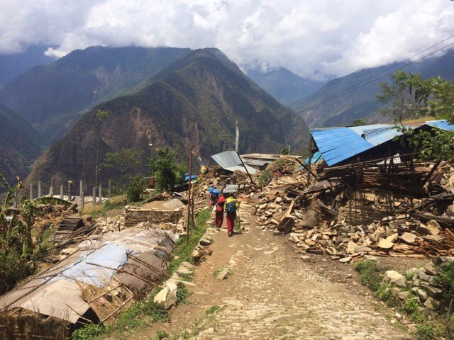 Village destroyed by the earthquake in Nepal