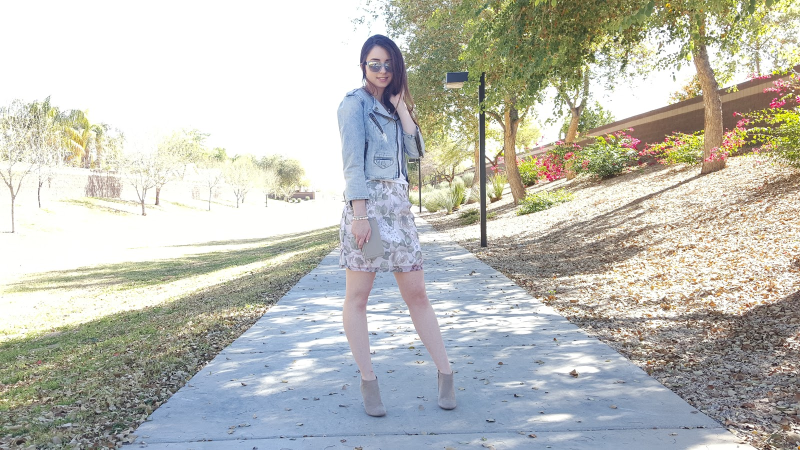 Spring outfit- pastels and neutrals with a denim jacket