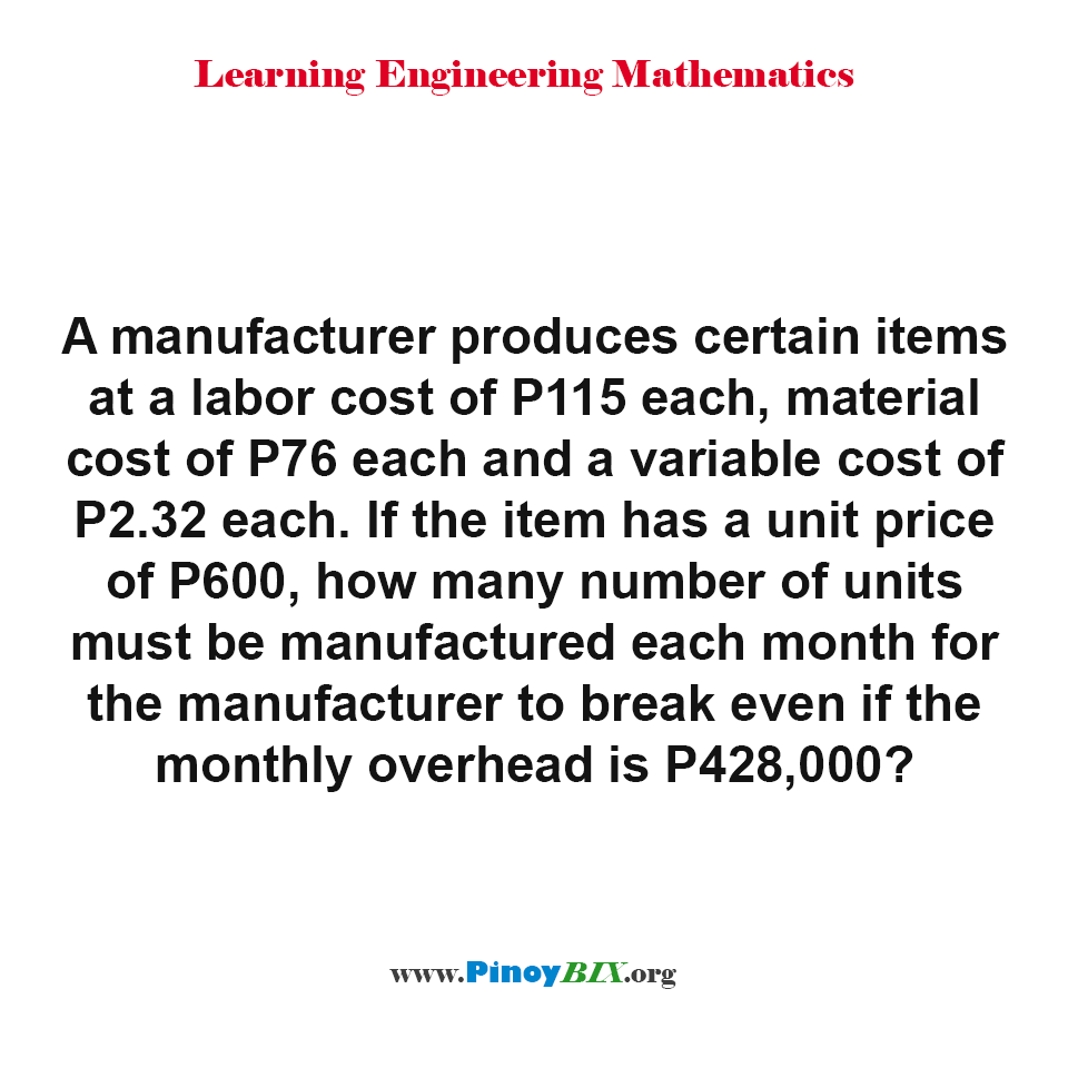 How many number of units must be manufactured each month to break even?