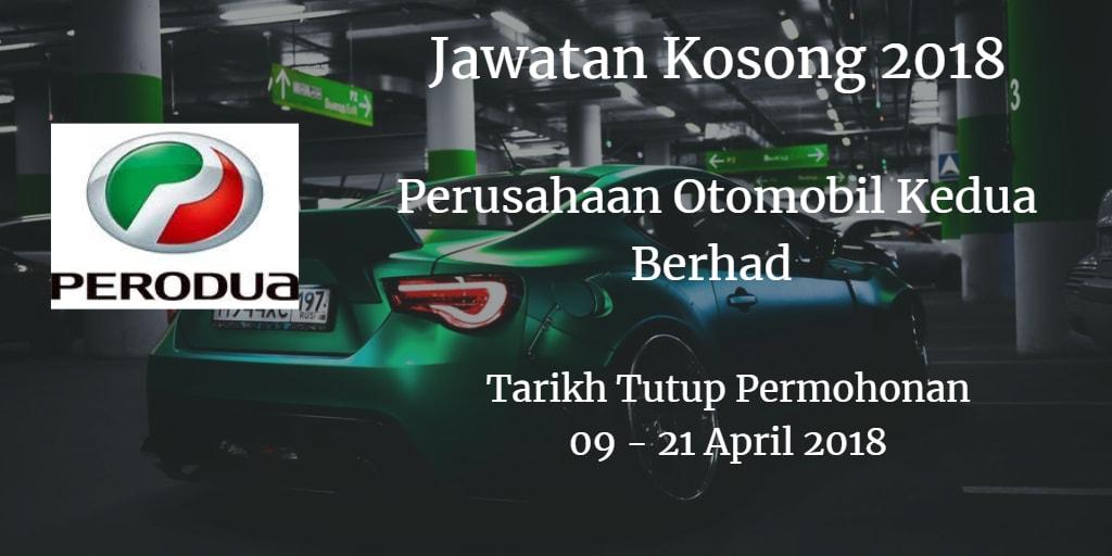 Jawatan Kosong PERODUA 09 - 21 April 2018