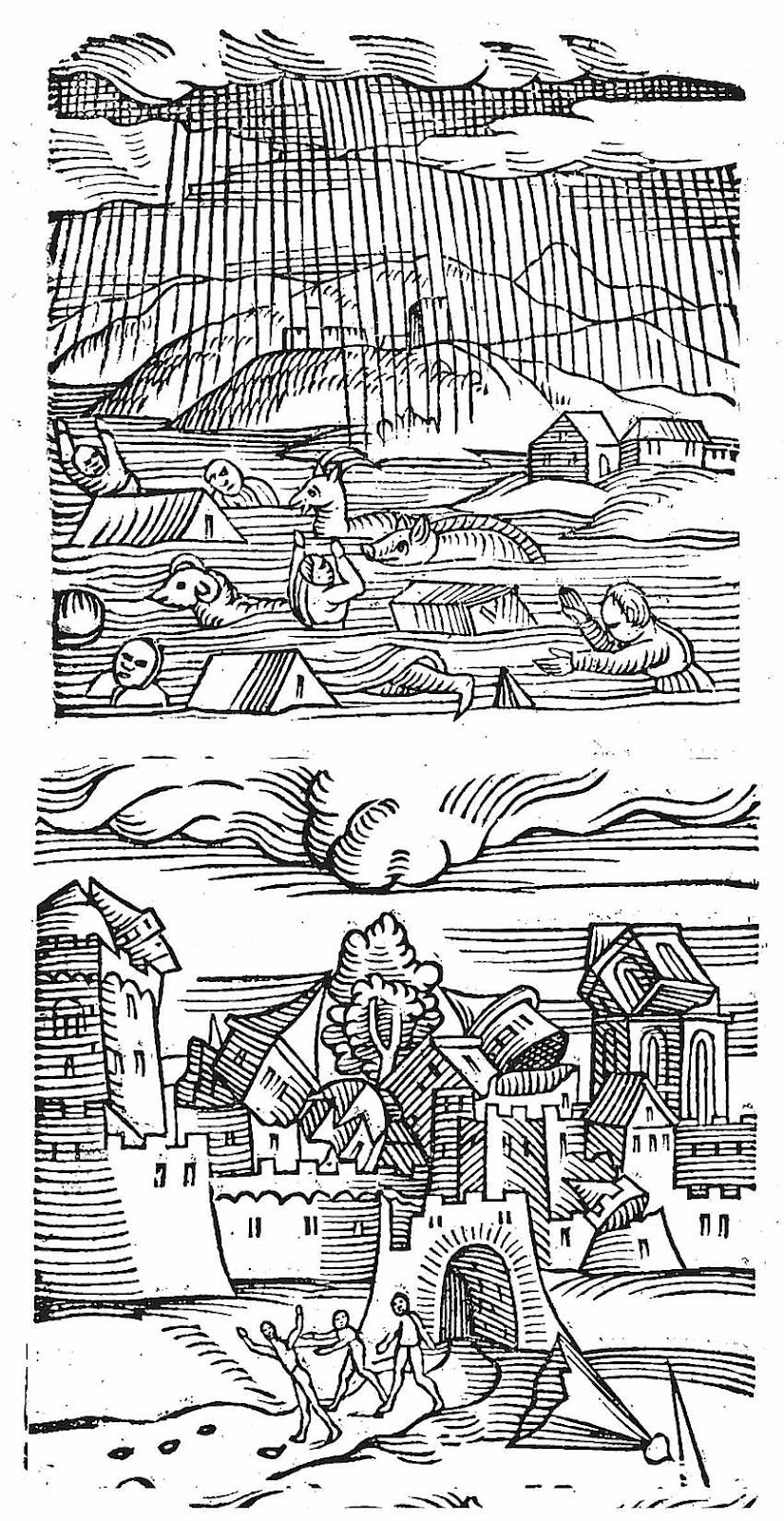 1557 illustrations of flood and Earthquake, with people and rats fleeing