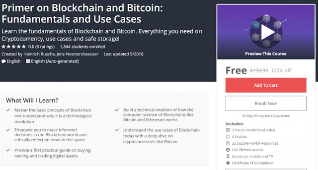 [100% Off] Primer on Blockchain and Bitcoin: Fundamentals and Use Cases| Worth 199,99$