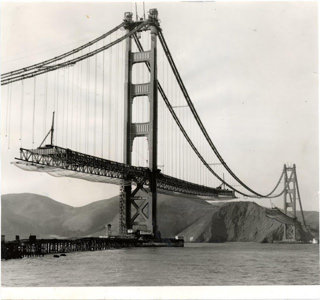 Golden Gate Bridge construction, circa 1937. Courtesy of San Francisco History Center, San Francisco Public Library.