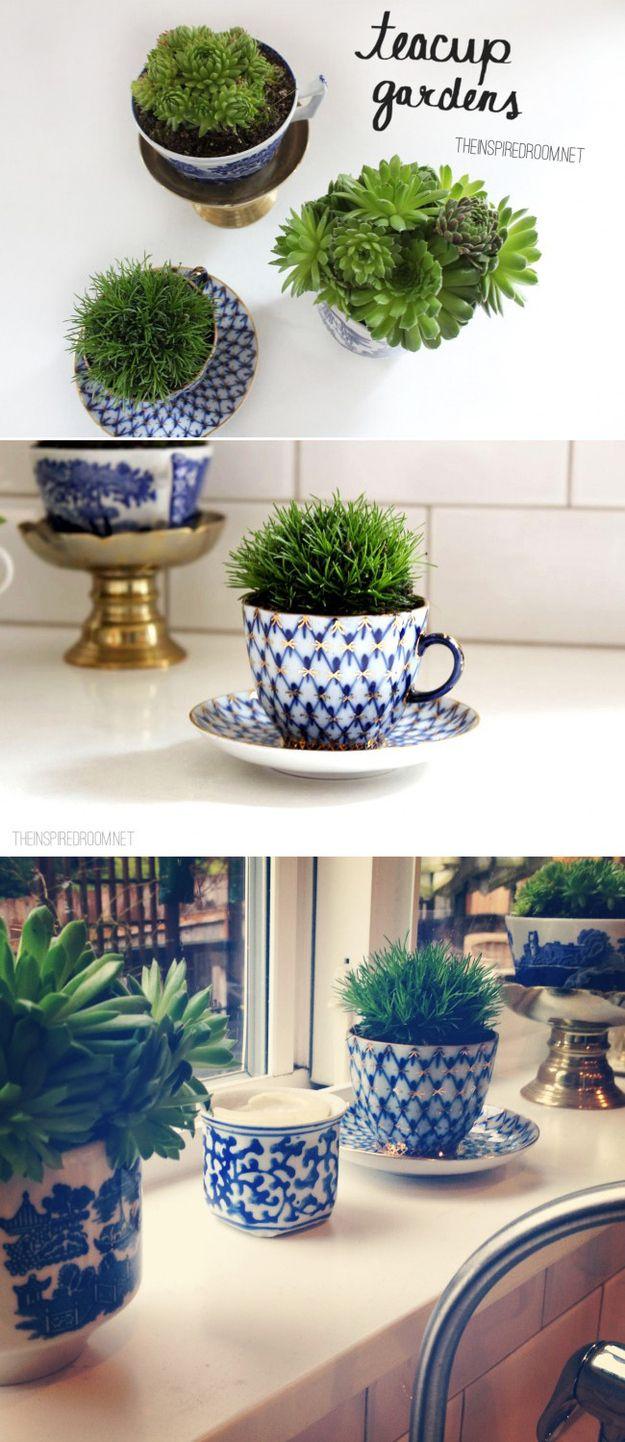 reciclagem criativa, reciclar e decorar, reaproveitamento de xícara, sair do ócio criativo, jardim na xícara