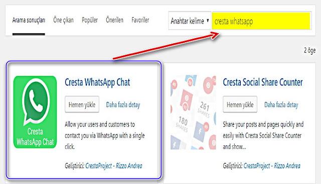 """""""Eklentileri Ara"""" metnini gördüğünüz arama kutusuna tıklayın. Buraya """"cresta whatsapp"""" yazın. Sonra, """"Cresta WhatsApp Chat"""" eklentisinde """"Şimdi Kur"""" seçeneğini tıklayın."""