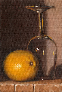 Oil painting of a lemon beside an upturned ISO tasting glass.
