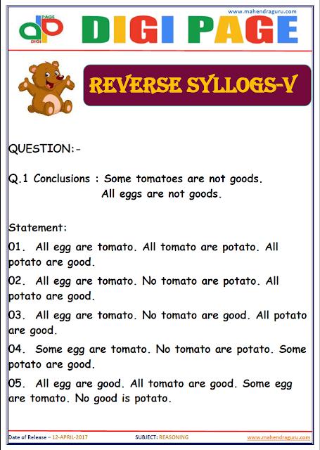 DP | REVERSE SYLLOGS | 12 - APR - 17 | IMPORTANT FOR SBI PO