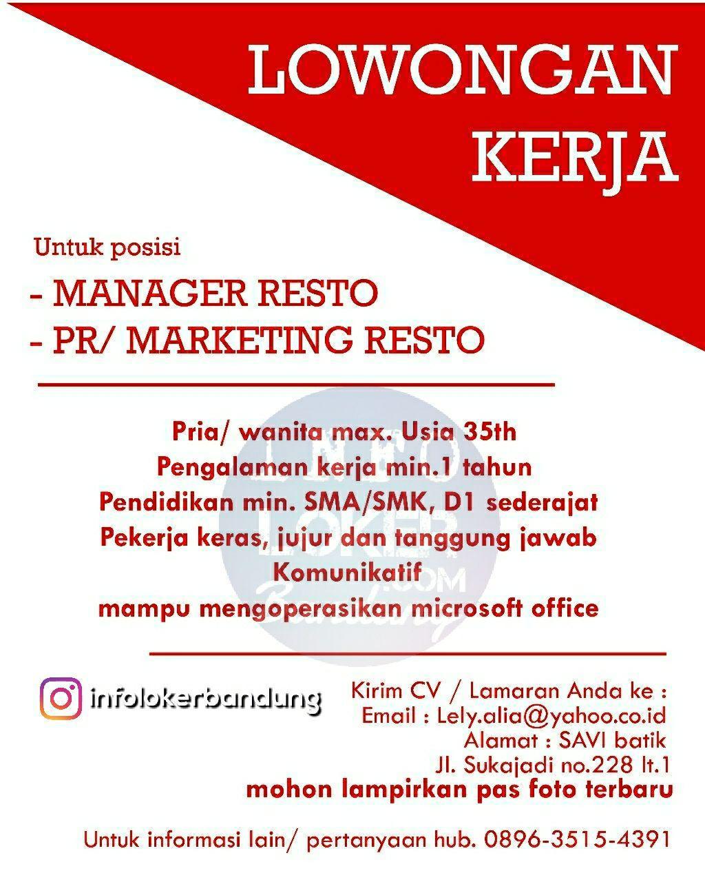 Lowongan Kerja Manager & Marketing Resto Bandung April 2018