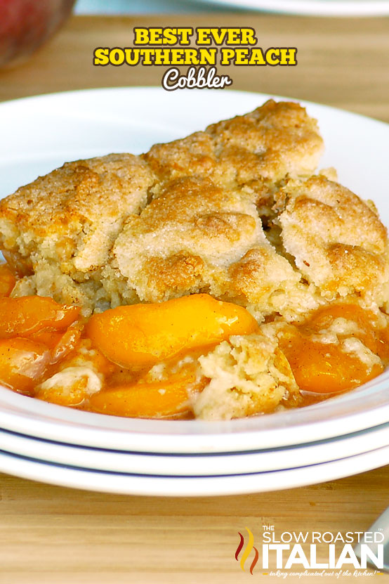 Southern Peach Cobbler in a white bowl
