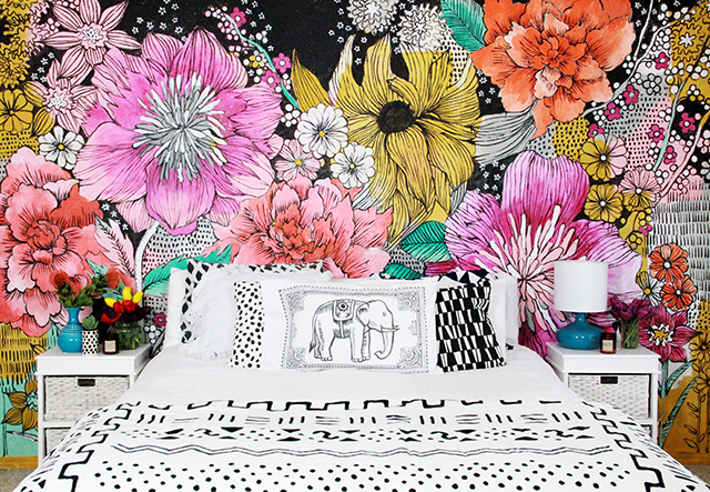Alisaburke bedroom makeover for Mural of flowers