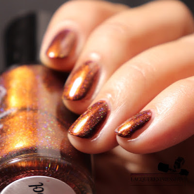 Swatch of Del Sol nail polish from Moonflower Polish
