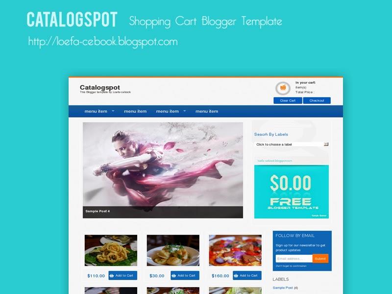 Catalogspot shopping cart blogger template king gecko for Shopping cart template for blogger