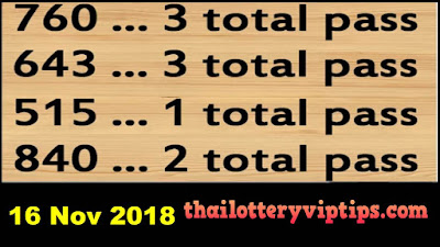 Thai Lottery 3up touch total set wining chance 16 November 2018