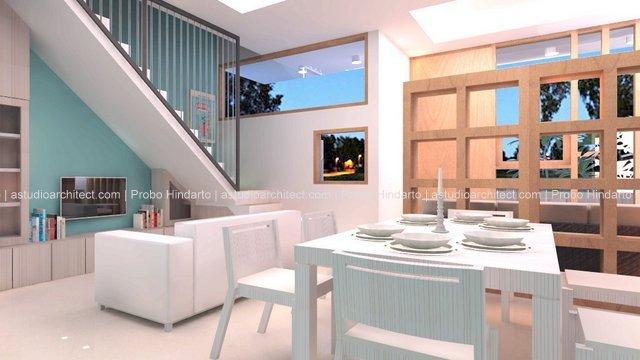 a Merenovasi rumah tipe 22 menjadi dua lantai Desain