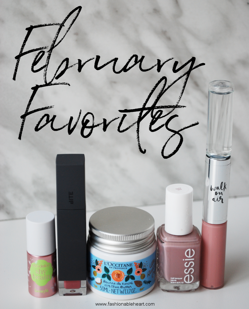 bbloggers, beauty blogger, beauty blog, monthly favorites, faves, february 2018, benefit, dandelion shy beam, shy beam, highlighter, brightener, fair skin, bite beauty, amuse bouche, liquified lipstick, eclair, loccitane, l'occitane, rifle paper co., dry skin, shea butter, ultra rich cream, essie, lady like, kate spade, walk on air, fragrance, rollerball, gloss, rollerball duo