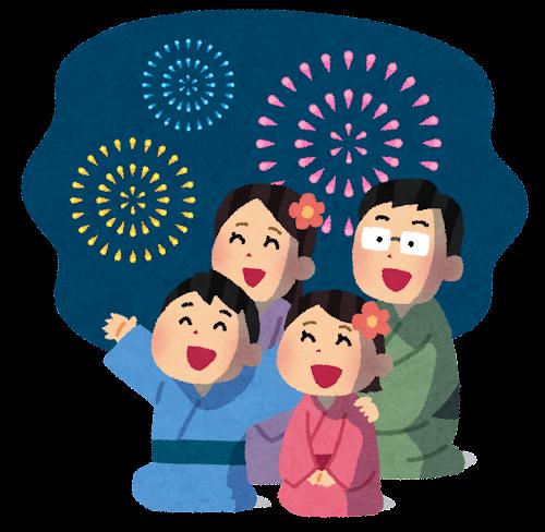 花火を見ている家族のイラスト(背景あり)