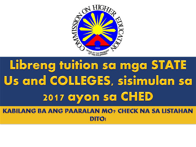 Good news for all students who wants to pursue their studies in college in spite of lacking in resources.  There is P8.3 billion fund granted to the Commission on Higher Education (CHED) so that tuition in undergraduate programs of all state universities and colleges in the Philippines will soon be free.  This will start next year.