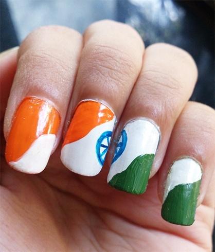 Nail Art Celebrate Republic Day In Tricolor Style