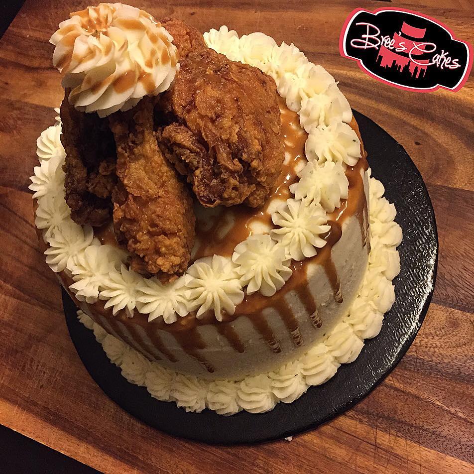 Brees Mashed Potato Fried Chicken Birthday Cake