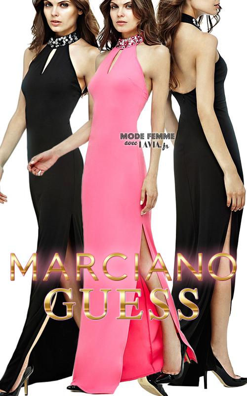 Robe de soirée longue dos-nu fendue noire ou rose Marciano GUESS