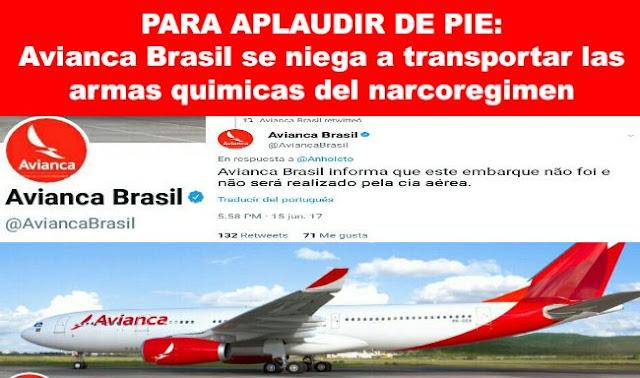 LA VOZ DE VENEZUELA SE ESCUCHA: @AviancaBrasil se niega a transportar las armas de Condor para asesinar