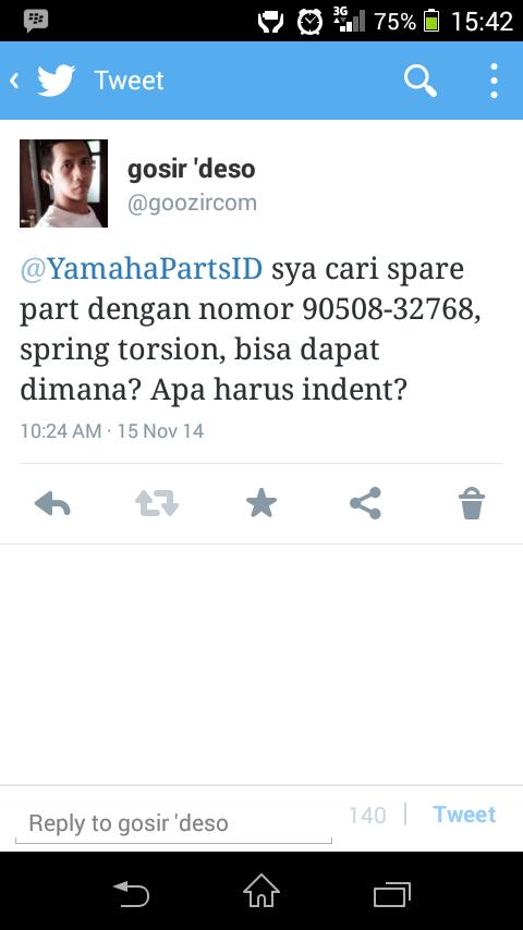 Twitter @YamahaPartsID Ga Ada Respon