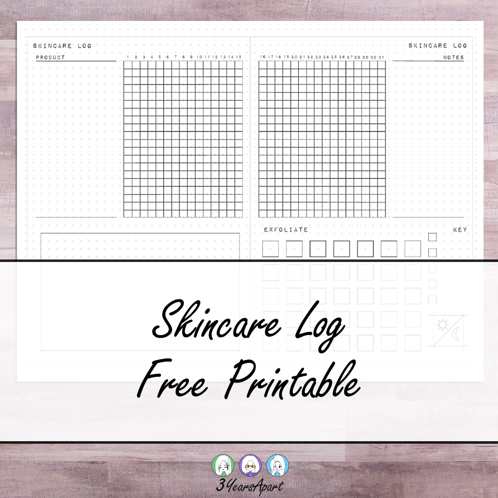 image regarding Free Printable Traveler's Notebook Inserts named Skincare Log No cost Printable Bullet Magazine, Vacationers