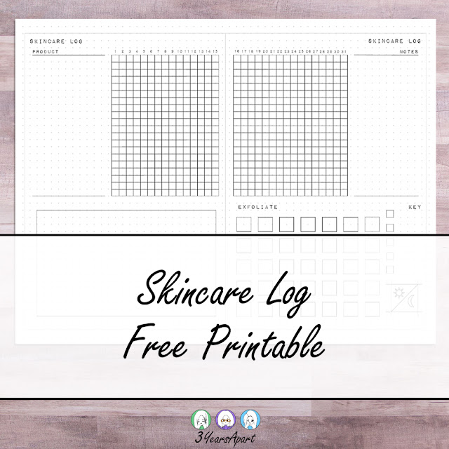 3 Years Apart - Skincare Log Free Printable Tracker for Traveler's Notebook, Bullet Journal, or Planners