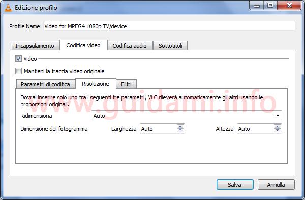 VLC finestra Edizione profilo