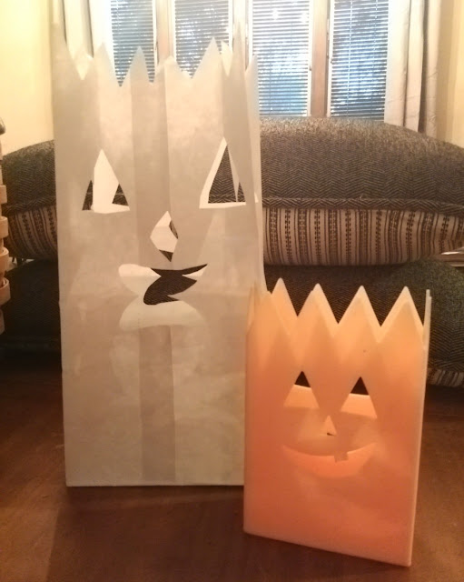 Indoor DIY Halloween paper bag luminary.
